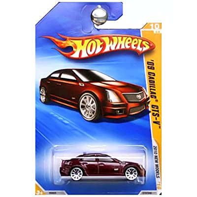 HOT WHEELS 2010 NEW MODELS 10 OF 44 BURGUNDY RED '09 CADILLAC CTS-V: Toys & Games