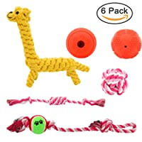 6 Pack Dog Rope Toys, Rubber Dog Ball Toys, Dog Pet Rope Toys for Small and Medium Dogs