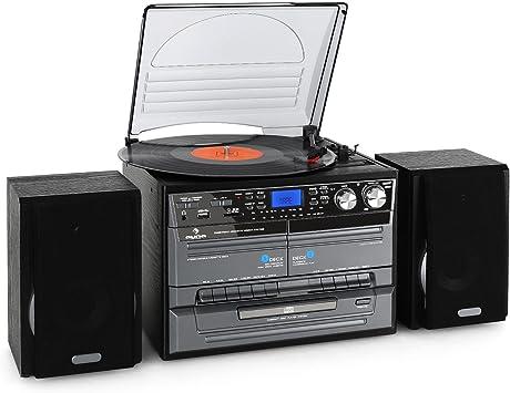 auna TC-386 minicadena con tocadiscos (sistema de audio estéreo ...