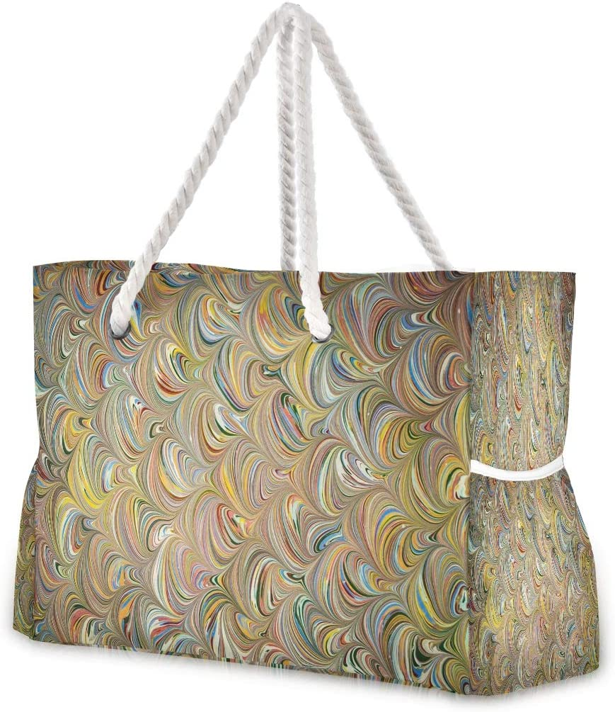 Trendy Golden Ebru Art Vector Beach Tote Pool Bags for Women Large Gym Tote Weekender Travel