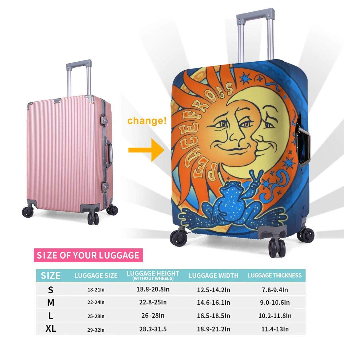 Washable Spandex Travel Luggage Protector Print Baggage Suitcase Cover Sun And Moon Peace Frog Fits 18-32 Inch