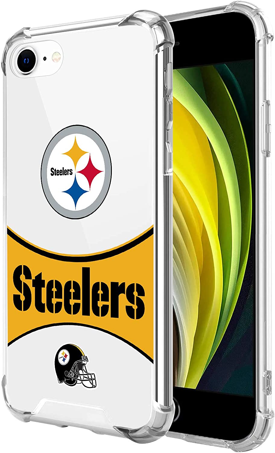 Compatible with iPhone 7 iPhone 8 iPhone SE 2020 Clear Case, Reinforced 4 Corner Shockproof TPU Bumper Anti-Scratch Phone Case for iPhone 7/8 /SE 2020 4.7 inch (Flag Series-Steelers)