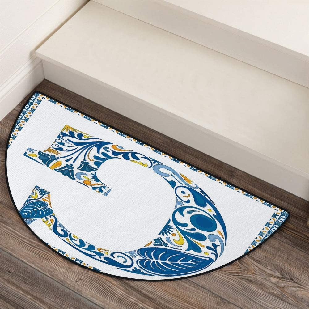36 x 72 Half Round Door Mat,Goes to School Humor Education Hipster with Glasses Books Pen Graphic Art Outdoor//Indoor Entry Rug,for Home Kitchen Office Standing Desk Mats,Multicolor