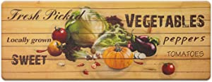 Farmhouse Themed Kitchen Mats 17 x 47 Inch, Anti-Fatigue Chef Mat Kitchen Rug Waterproof Foam Cushioned Floor Rugs, Vegetable
