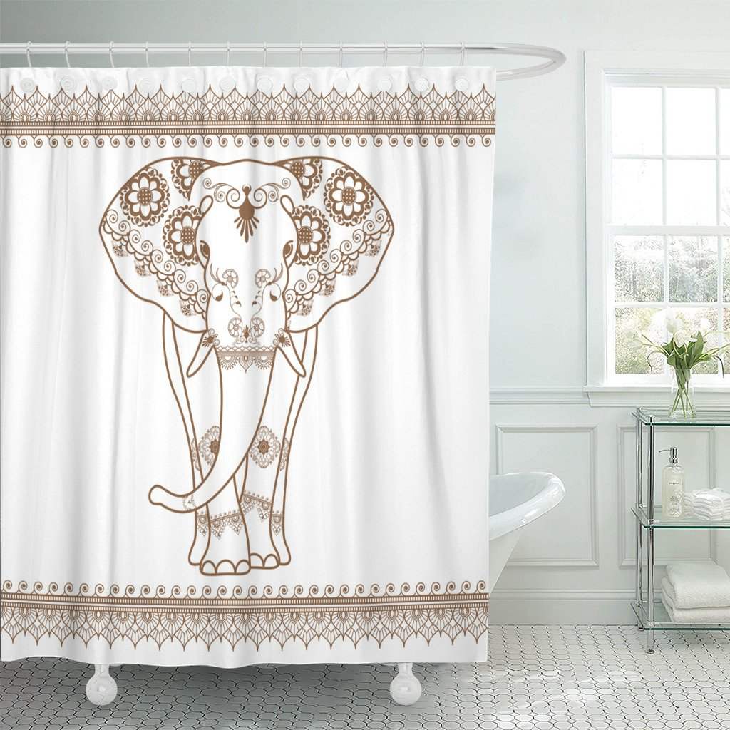 TOMPOP Shower Curtain Thai Elephant with Border Brown in Ethnic Mehndi Style Frontal Elephant's White Thailand Waterproof Polyester Fabric 72 x 72 Inches Set with Hooks by TOMPOP