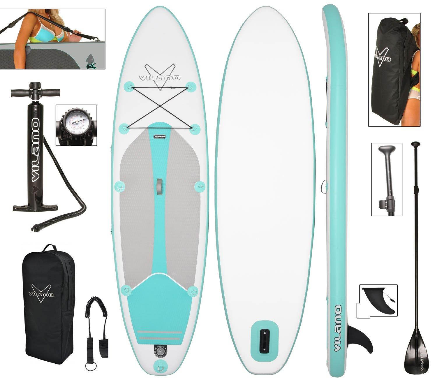 Vilano Journey Inflatable SUP Stand up Paddle Board Kit by Vilano