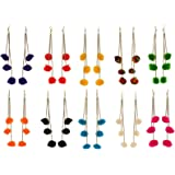 Michelangelo Multiple Colors Fashion Hook Dangle Tassel Long Fur Funky Earrings with Pompoms For Women & Girls (Pack Of 10)