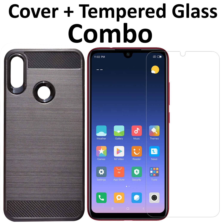 meet da37a f257c POPIO Tempered Glass & Back Cover Case Combo FOR Xiaomi Redmi Note 7 /  Redmi Note 7 pro (Transparent Glass & Cover Combo)