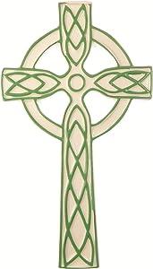 Ceramic White Green Celtic Wall Hanging Cross 8
