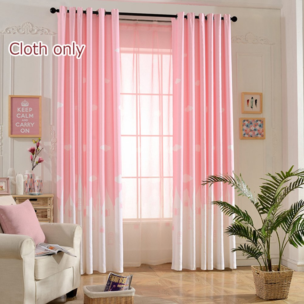 WPKIRA Window Treatments Kids Angels City Semi-Blackout Printed Curtains Fresh Light Filtering Panels Window Drapes Screens Grommet Top For Girls Bedroom, 1 Panel Pink W75 by L84 inch