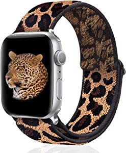 Stretchy Nylon Solo Loop Bands Compatible with Apple Watch 38mm 40mm, Adjust Stretch Braided Sport Elastic Women Men Strap Compatible with iWatch Series 6/5/4/3/2/1 SE, Brown Leopard