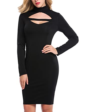 6f7508c0d4fc8 Zeagoo Women Sexy Keyhole Halter Cut out Long Sleeve Backless Bodycon  Cocktail Dress
