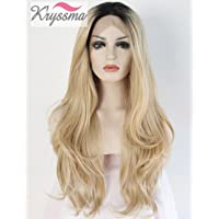 K'ryssma Ombre Blonde Synthetic Lace Front Wigs For Black Women,2 Tone Color Black Roots Long Natural Wavy Heat Resistant Synthetic Hair Replacement Wig Halloween Half Hand Tied 24 inches