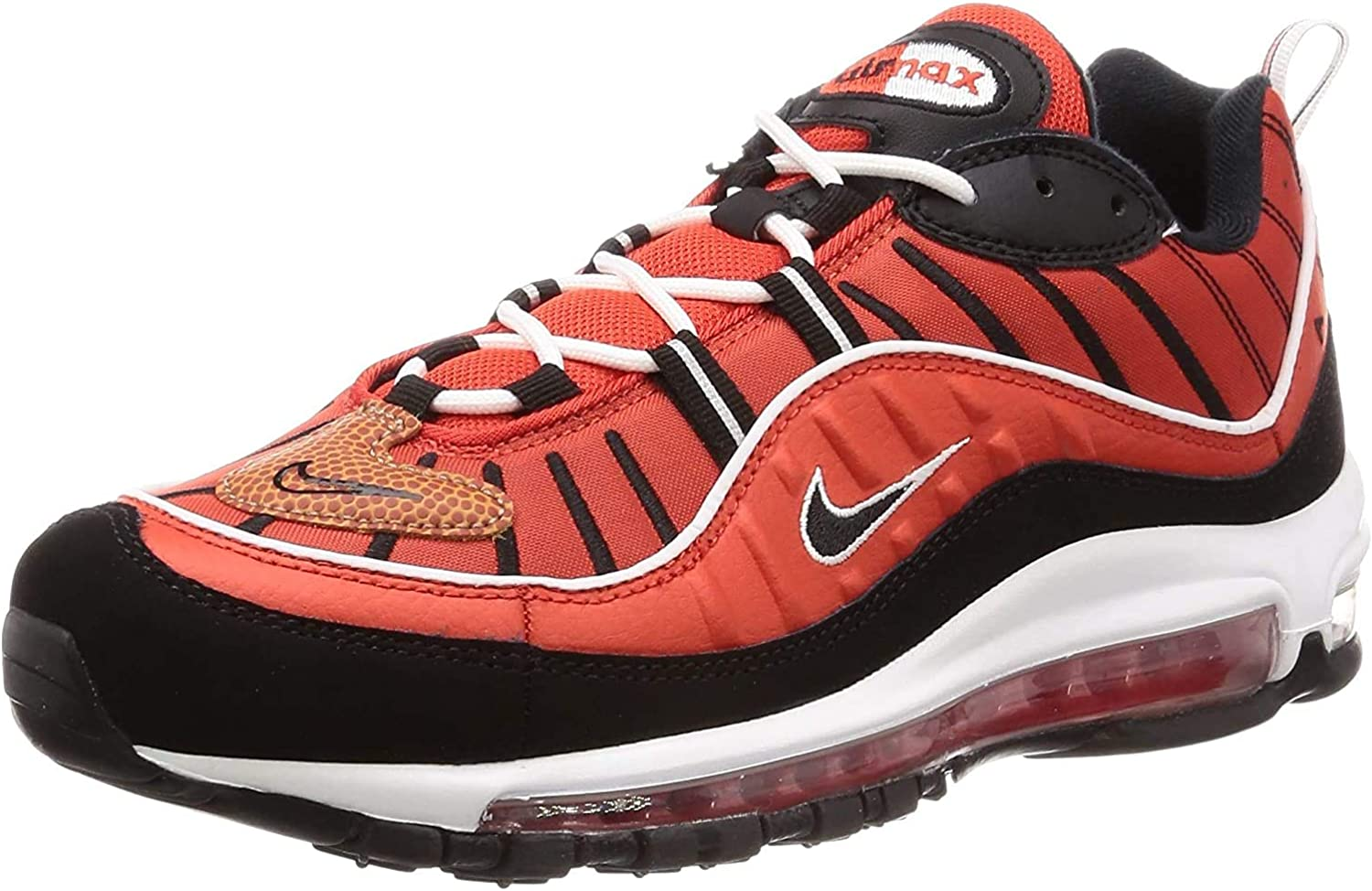Nike Air Max 98, Chaussures d'Athlétisme Homme Multicolore Habanero Red Black White Metallic Gold 604