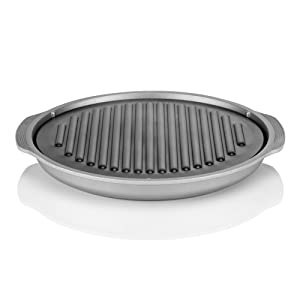 TECHEF - TRUE GRILL PAN - Stovetop Nonstick Indoor/Outdoor Smokeless BBQ Grill Set, including a Grill Plate and Aluminum Drip Tray