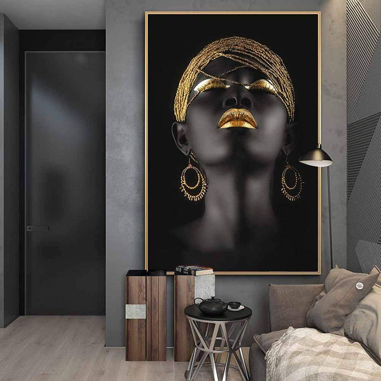Refosian mujer sexy africana lienzo arte carteles impresiones chicas negras con tocado dorado lienzo pinturas pared arte cuadros 70x110cm sin marco