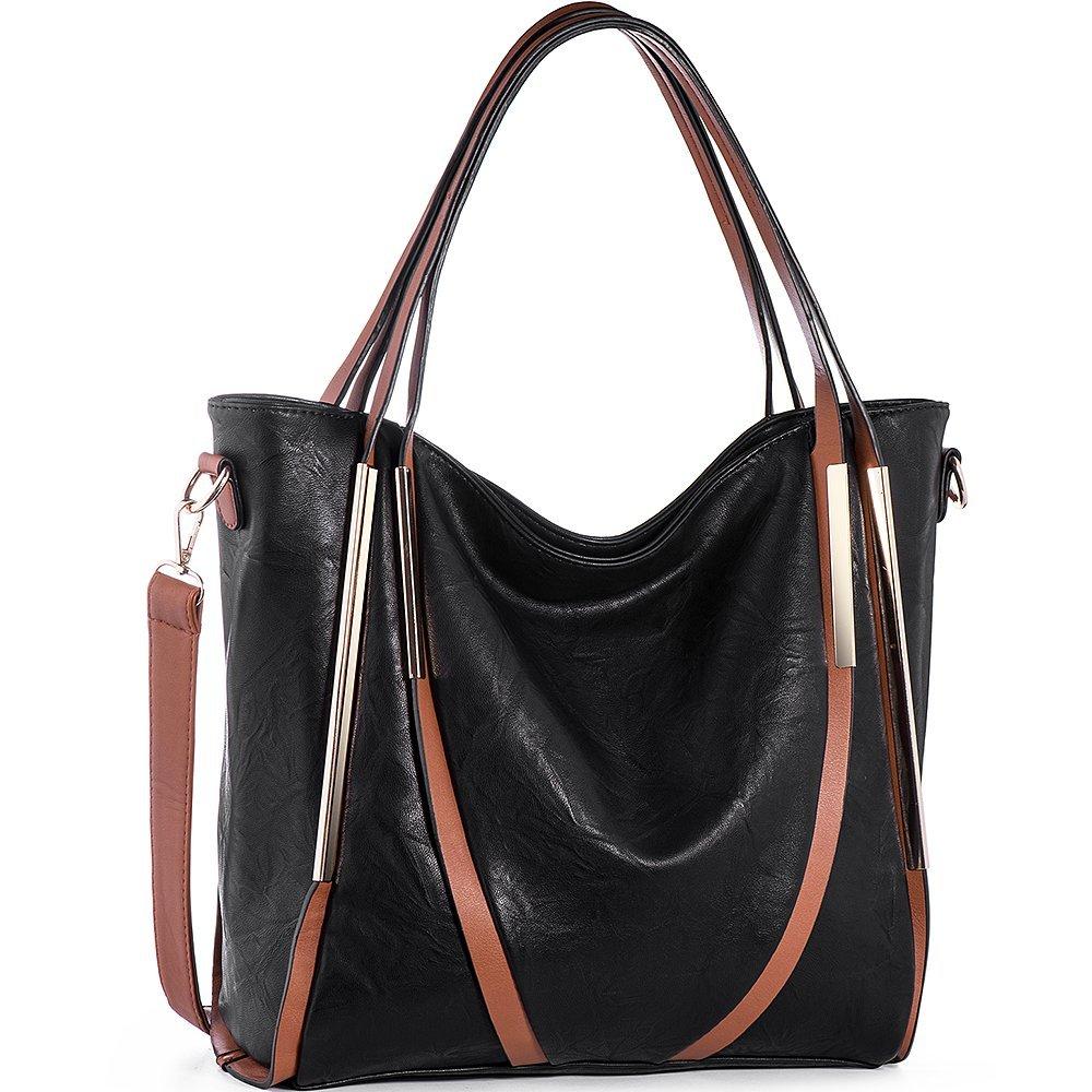 JOYSON Women Handbags Top-Handle PU Leather Tote Shoulder Bags Satchel Purse for Ladies Black