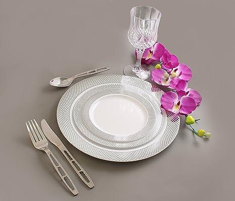 Disposable Plastic Plates Combo   Premium Quality White With Silver Rim Dinnerware Set   Excellent for & Amazon.com: Disposable Plastic Plates Combo   Premium Quality White ...