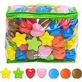 RiZKiZ カラーボール 丸/星/ハート 7色 100個入り 直径5.5cm 【やわらかポリエチレン製】 (プール/ボールハウス/キッズプレイサークル用)