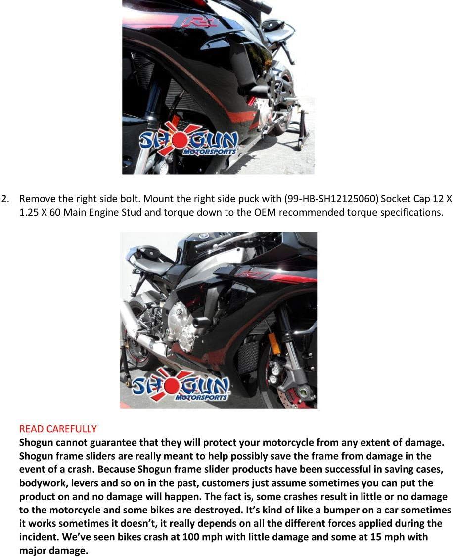 No Cut Black Frame Sliders Shogun 750-6759 Select Yamaha R1 Models