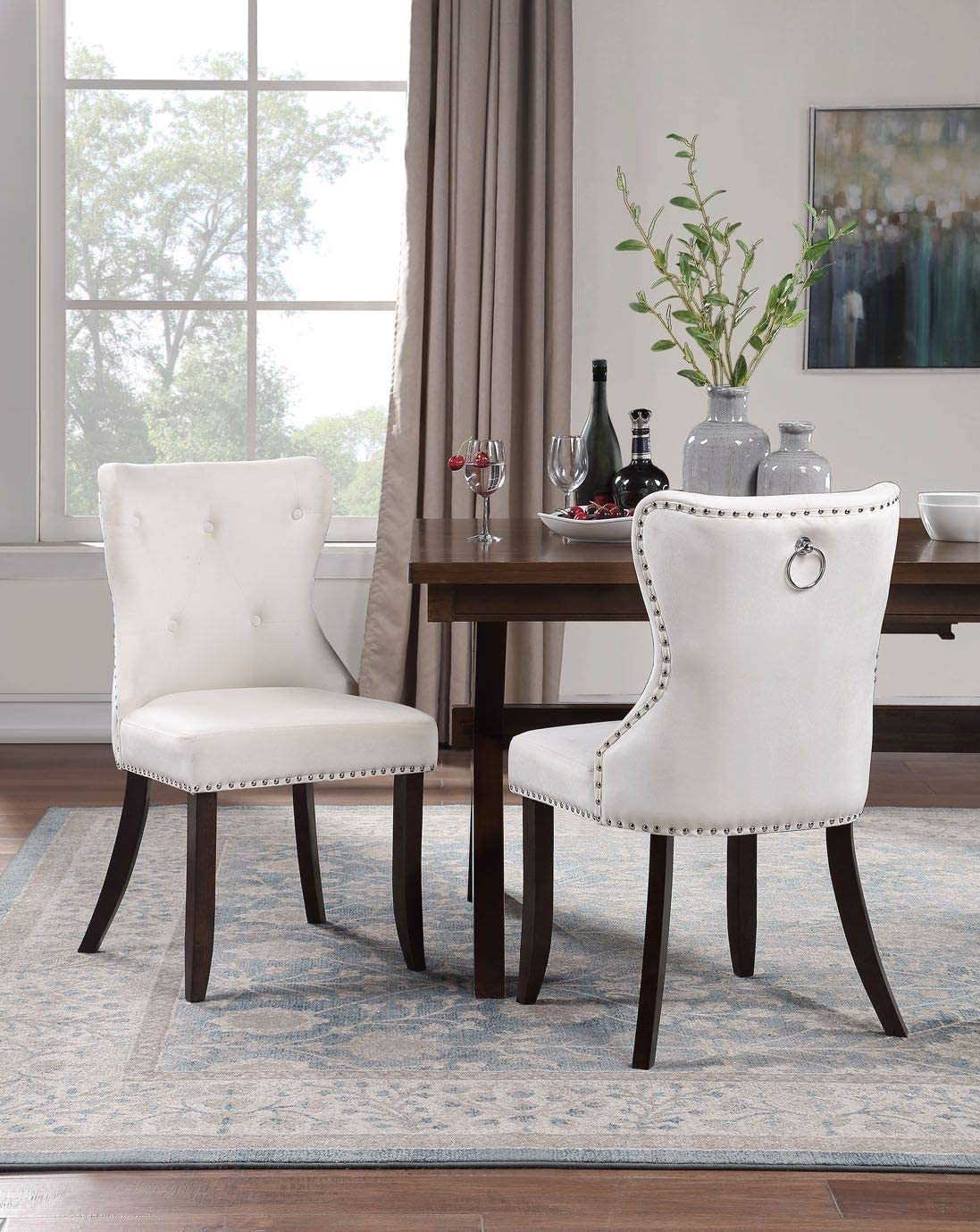 Merax Dining Chair Set of 2, Tufted Fabric Armless Chair Upholstered Accent Chair,Beige
