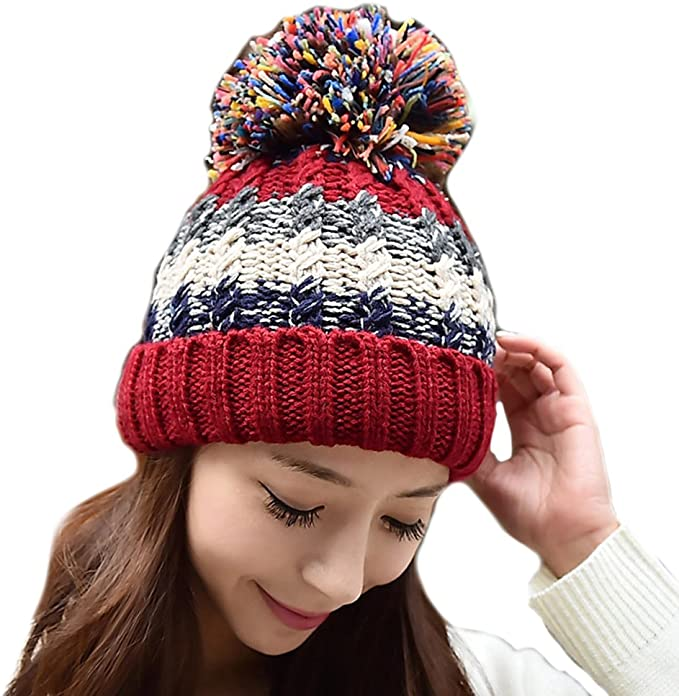 Tuopuda Crochet Invierno Mujeres Gorra Vistoso de Punto Beanie ...