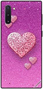 Case For Samsung Galaxy Note10 - Peach Glitter Hearts On Pink Cloth Pattern