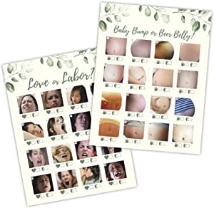 30 Beer Belly or Pregnant Baby Bump AND 30 Love or Labor Game Cards- Baby Shower, Gender Reveal, or Bachllorette Party Supply Kit Gender Neutral Modern Card Design- A Fun Game for Men & Women