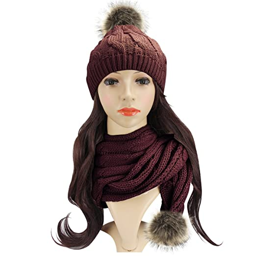 Hot Amazon Beautyer Beanie And Scarf Sets For Women Winter Cable