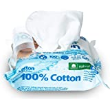WaterCotton Makeup Remover Wipes 100% Cotton and Micellar Water, Biodegradable 25 Wipes with Aloe Vera