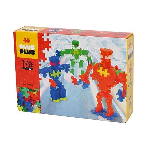 Plus-Plus - Boîte de 170 Pièces Jeux de Construction Néon Robots, PP3726