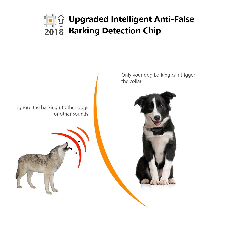 Dog Bark Collar Upgrade 2018 - Humane Anti Bark Training Collar – Beep Vibration Shock / No Shock Collar - Stop Barking Collar for Small Medium Large Dogs - Best No Bark Control Collars – Pet Safe