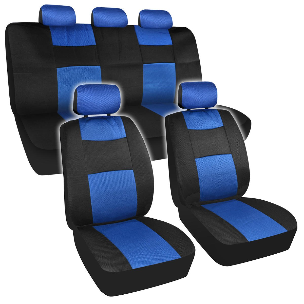 Amazon BDK USA Non Fading 2 Tone Car Seat Cover 11 Pc Set Universal Mesh Low Back Blue Black Automotive
