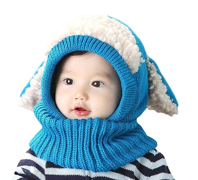 ... Bambino Autunno Inverno Maglia di Lana Carino Animale Cane Paraorecchie  Sciarpa Cappello Cappelli Cappuccio Natale Regalo Blu  Amazon.it   Abbigliamento 04bcc3605a52