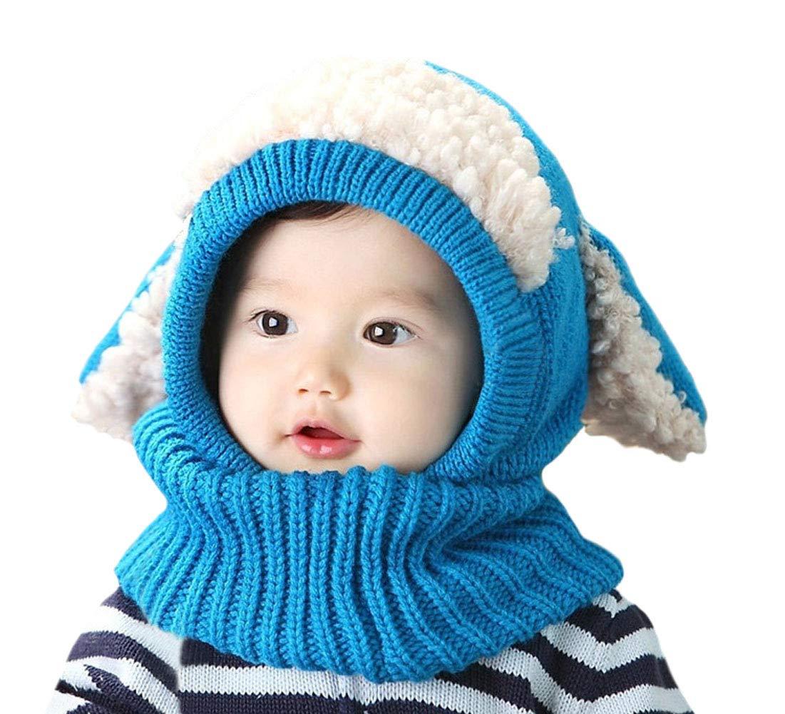 DELEY Unisex Bambino Autunno Inverno Maglia di Lana Carino Animale Cane  Paraorecchie Sciarpa Cappello Cappelli Cappuccio c0110cf54487