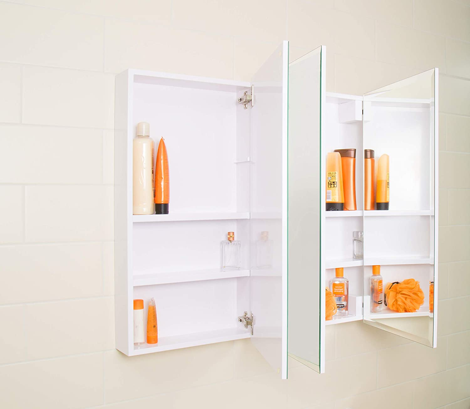 Croydex Heacham 30-Inch x 30-Inch Triple Door Tri-View Cabinet with Hang N Lock Fitting System