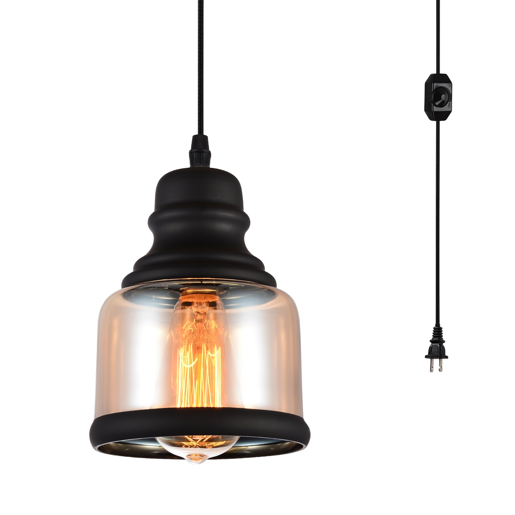 HMVPL Glass Hanging Lights with Plug in Cord and On/Off Dimmer Switch, Updated Industrial Edison Vintage Swag Pendant Lamps for Kitchen Island or Dining Room -Black Jar