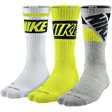 Nike Dri-fit Cushioned Crew Sock (Large, Cyber, Gray, White)