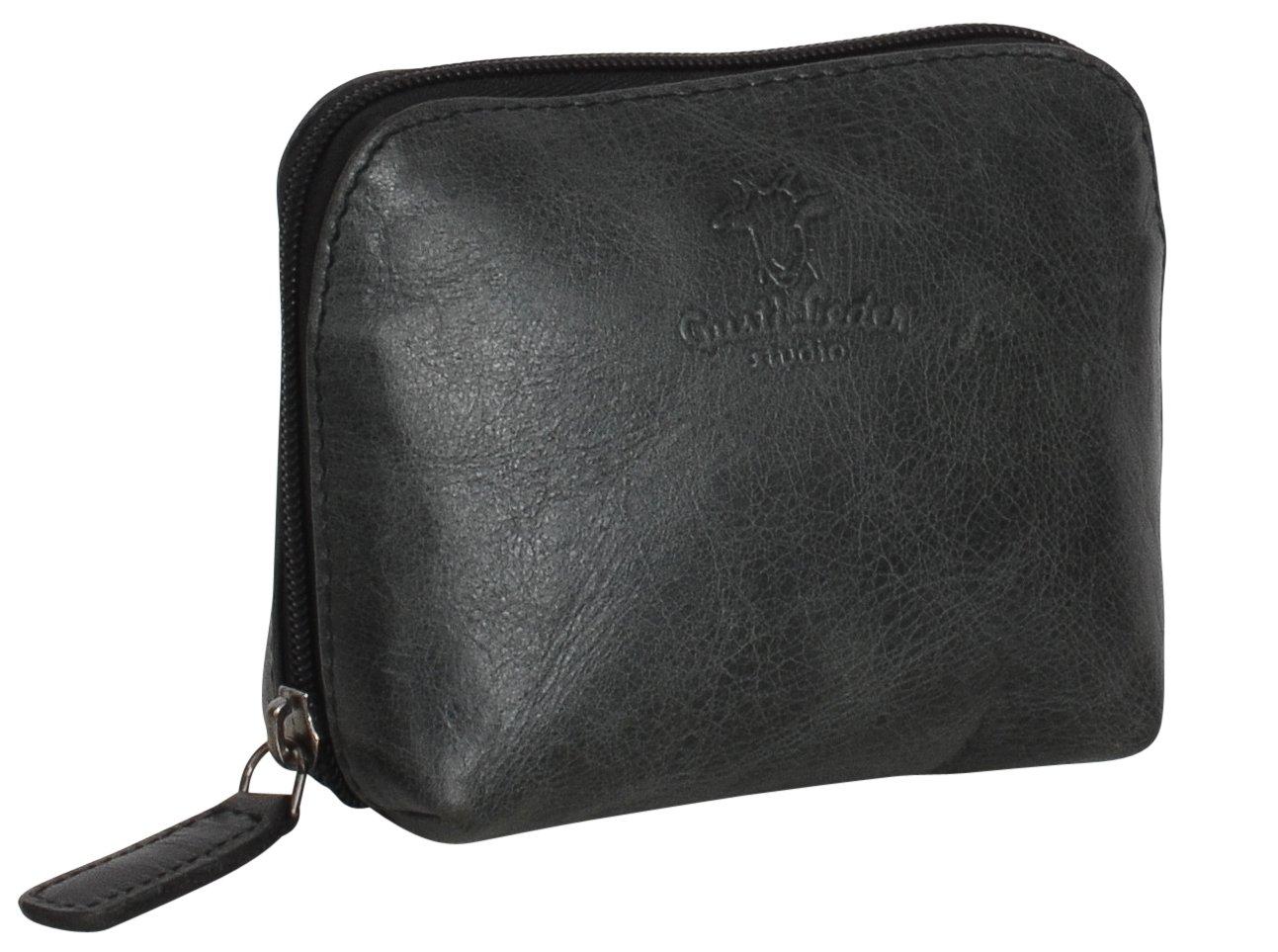 Beauty-case in cuoio Make-up Gusti Leder ''Leo'' Astuccio Trucchi accessori viaggi interno impermeabile elegante nero grigio particolare 2A5-20-6wp