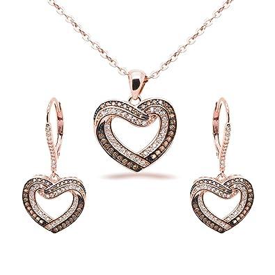 Amazoncom Jewelry Set Chocolate CZ Heart Pendant Necklace Matching