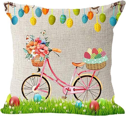 18 x 18 Inch Spring Eggs Cushion Protector for Sofa Couch Home Decor AVOIN Easter Pillow Cover Bunny Rabbit Basket Flower Linen Decorative Throw Pillowcase Invisible Zipper