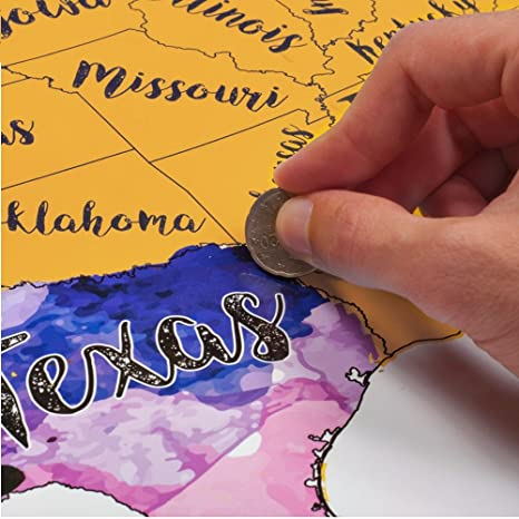 Amazoncom Scratch Off USA Map Travel Watercolor By McScout Maps