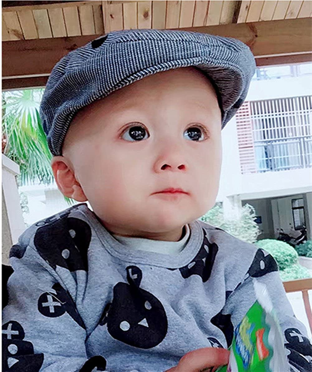 7d0841bb8a8 LifenewBaby Baby Infant Boys Beret Hat Cotton Sun Hat Navy Blue Stripe  Peaked Cap Sailboat Embroidery Elastic Size Adjustable  Amazon.co.uk   Clothing