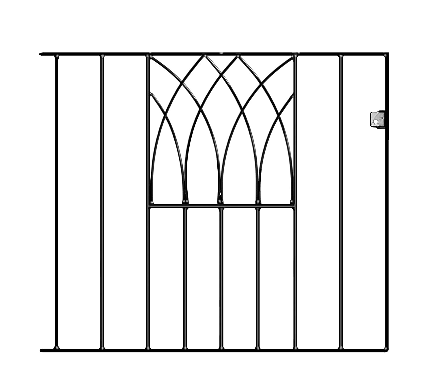 ABBEY Modern Single Garden Gates 838mm GAP X 815mm HIGH wrought iron metal gate