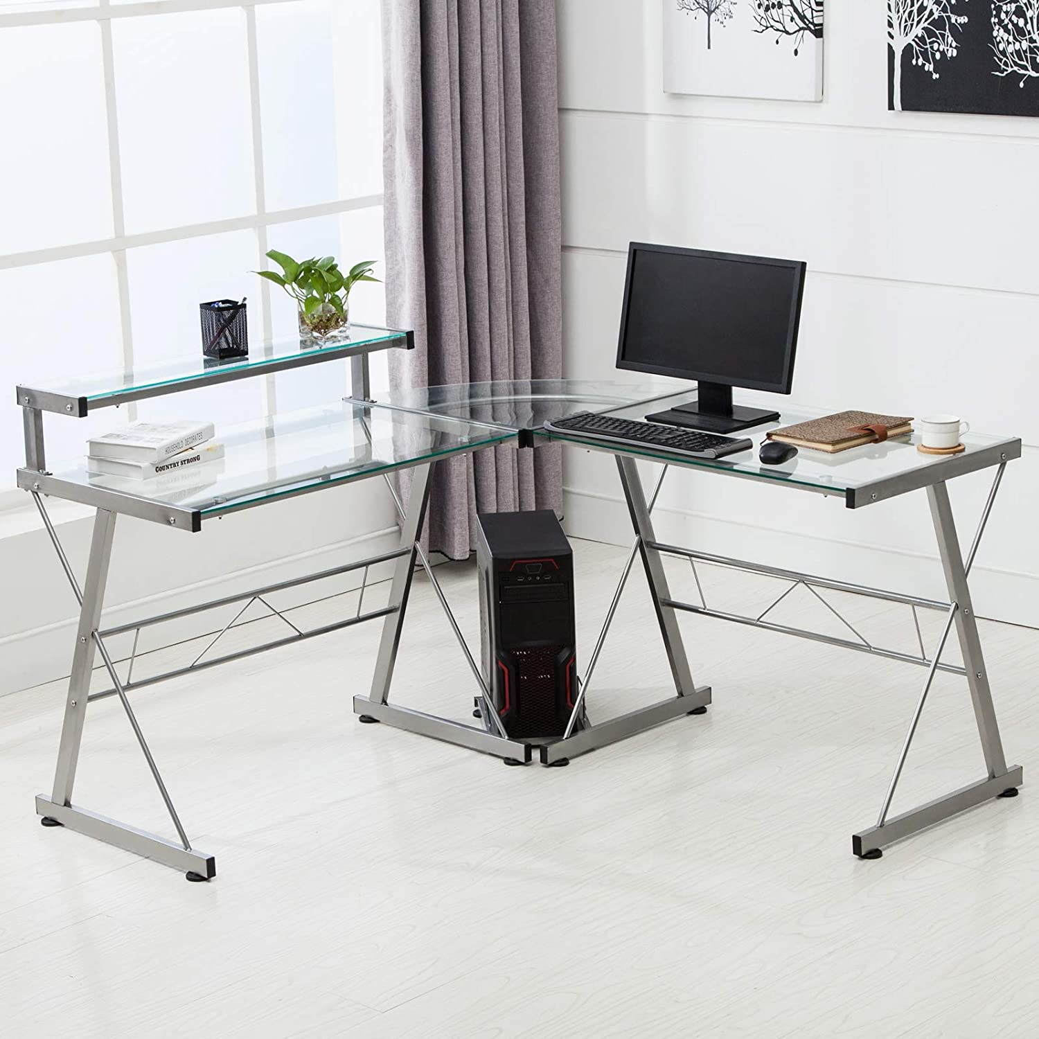 Mecor L-Shaped Corner Computer Desk with Shelf, Glass Laptop Home Office Furniture, Glass Metal, Clear