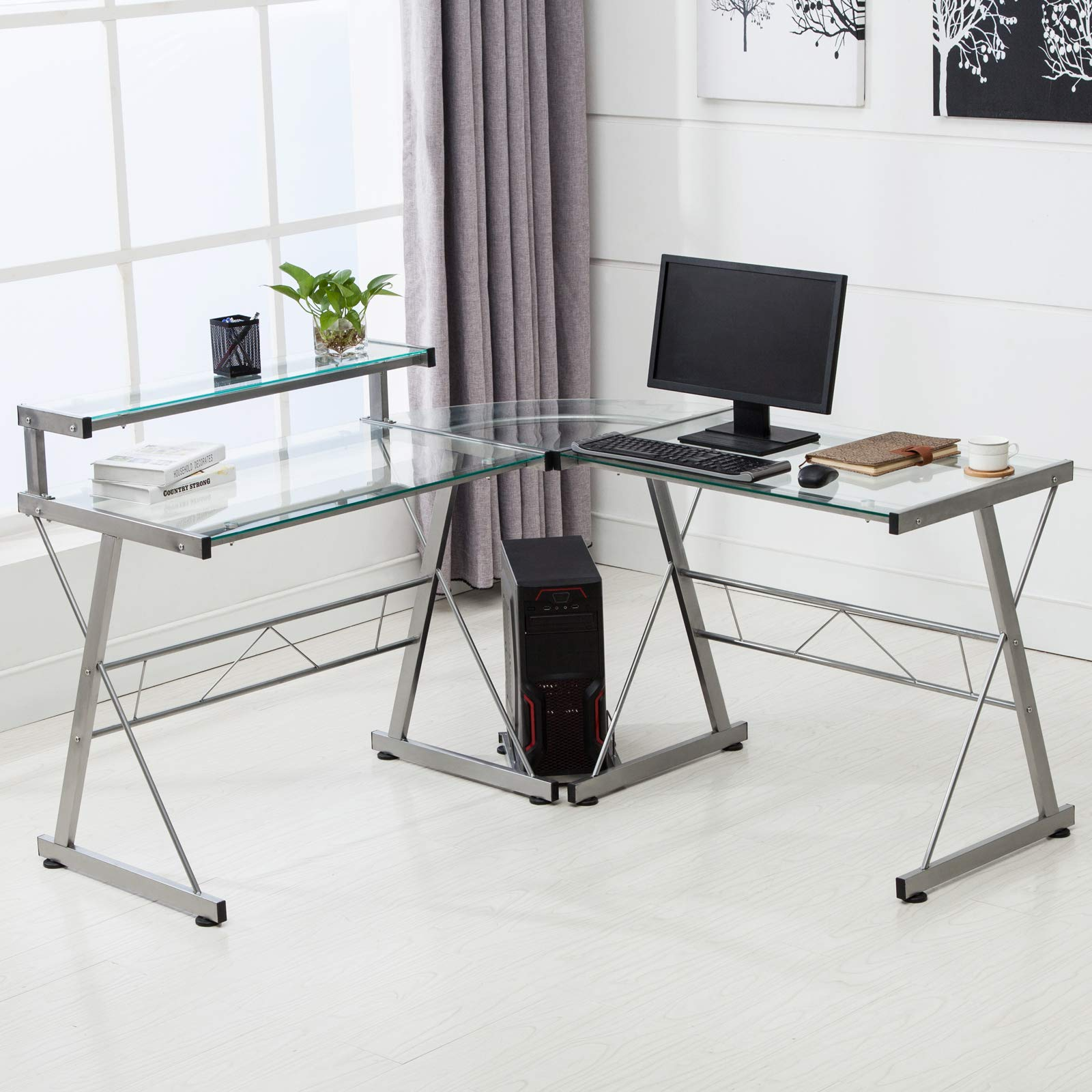 Mecor L-Shaped Corner Computer Desk with Shelf, Glass Laptop Home Office Furniture, Glass & Metal, Clear by Mecor