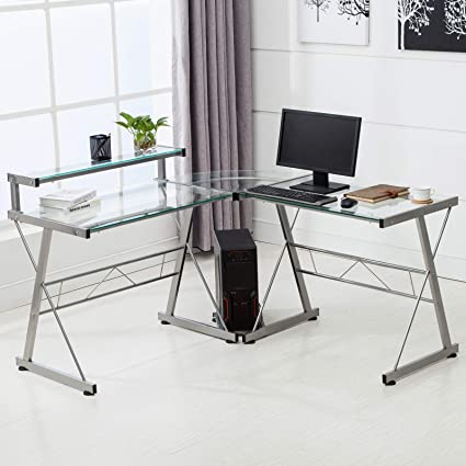 Amazoncom Mecor L Shaped Corner Computer Desk With Shelf Stand