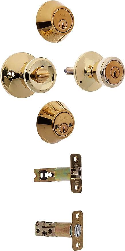 Porte d/'entrée laiton poli pommeau set avec 3 clés