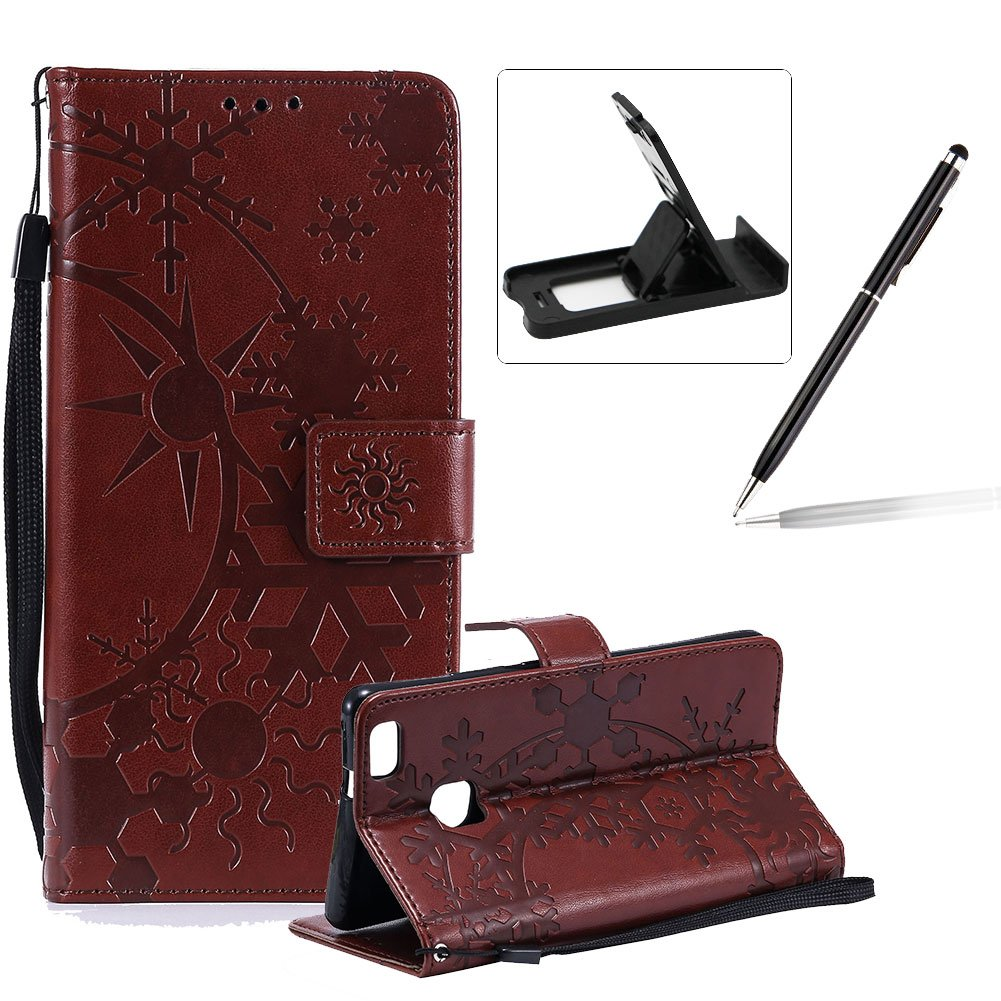 Strap Leather Case for Huawei P9 Lite,Wallet Leather Case for Huawei P9 Lite,Herzzer Premium Stylish Creative Brown Art Painted Magnetic Bookstyle Flip Portable Stand Case with Soft Rubber Card Holder Slots