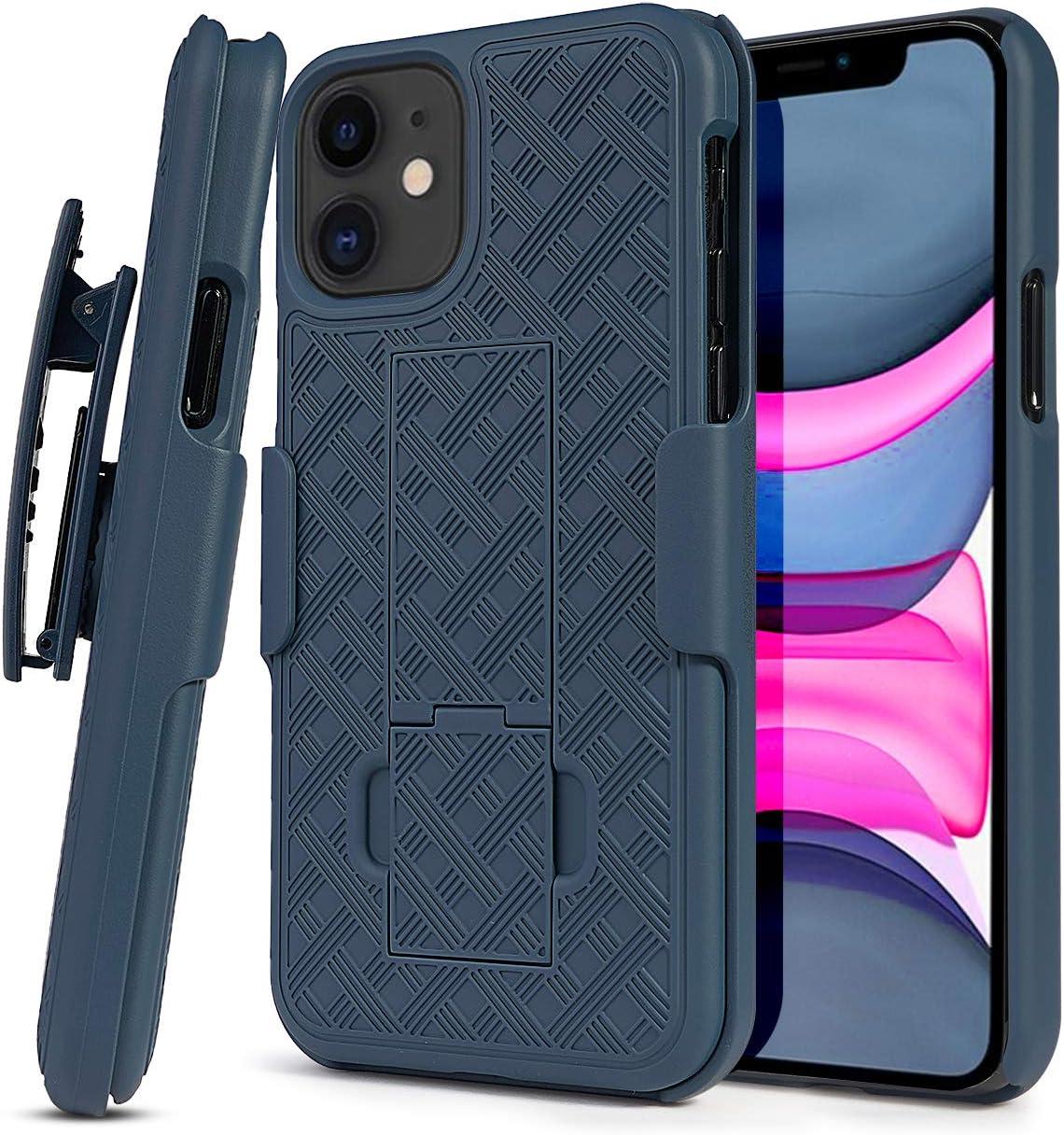 HIDAHE iPhone 11 Belt Clip Holster Case,Phone Holster for iPhone 11,Holster for iPhone 11,Combo Case with Kickstand Rotating Belt Clip Super Slim Shell for Apple iPhone 11 Phone 6.1'' (2019),Blue